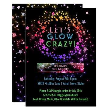 neon glow in the dark party   kids birthday invitation