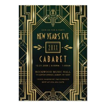Small New Year's Eve Party Invitation   1920's Cabaret Front View