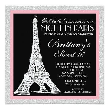 Small Night In Paris Glitter Sweet 16 Custom Invitation Front View