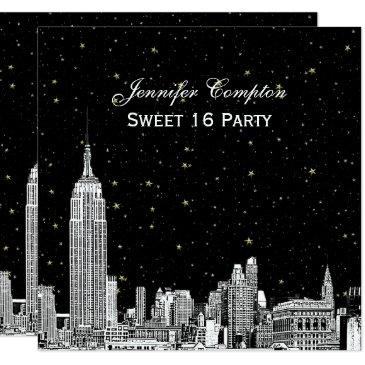 nyc skyline etched starry diy bg color sq sweet 16