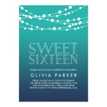Small Ocean Blue String Lights Sweet Sixteen Invitation Front View
