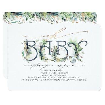 oh baby greenery baby shower gender neutral invitation