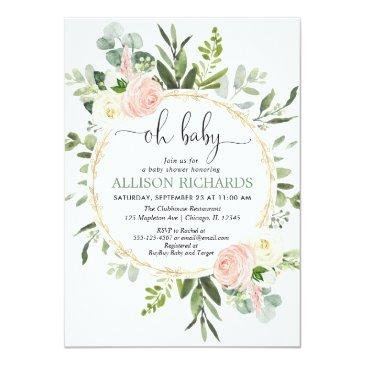 Small Oh Baby Greenery Pink Gold Floral Girl Baby Shower Invitation Front View
