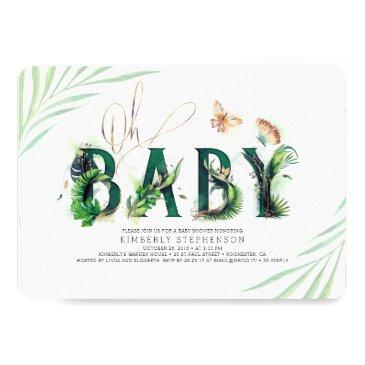 oh baby tropical greenery and gold baby shower invitation