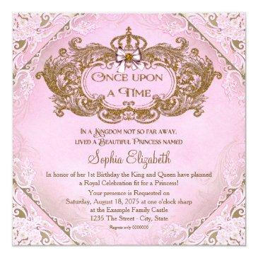 Small Once Upon A Time Princess 1st Birthday Invitations Front View