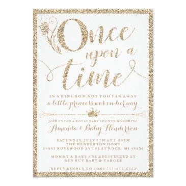 Small Once Upon A Time Princess Baby Shower Invitation Front View