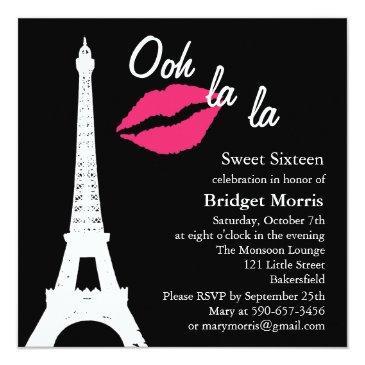 Small Ooh La La! Birthday Invitation Front View