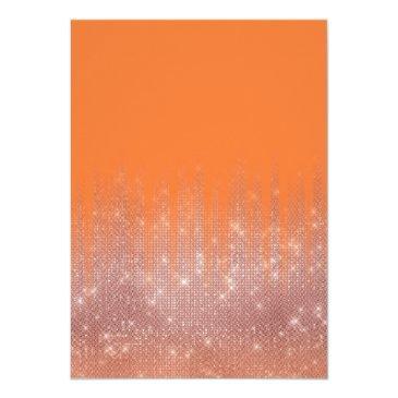 Small Orange Peel Rose Gold Glitter Typography Sweet 16 Invitation Back View