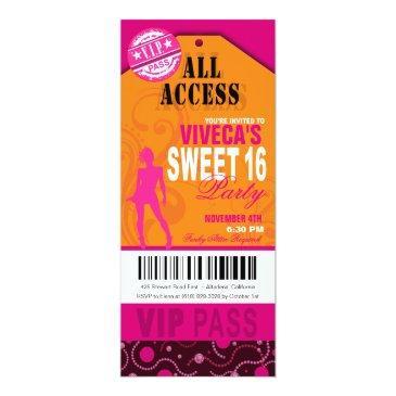 orange, pink and fuschia vip sweet 16 ticket invitations