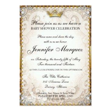 Small Ornate Fairytale Storybook Baby Shower Invitation Front View