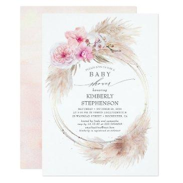 pampas grass and pink orchids exotic baby shower invitation