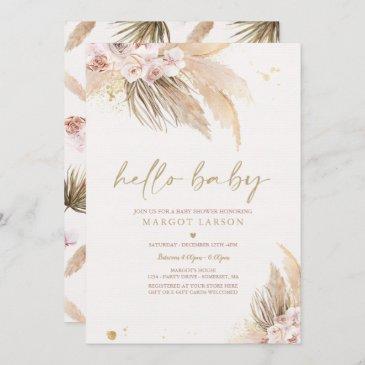 pampas grass bohemian tropical desert baby shower invitation