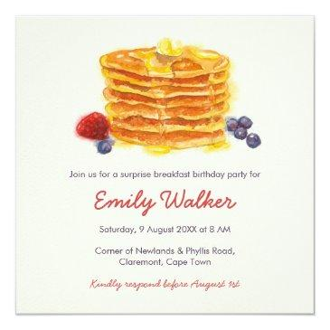 pancake breakfast birthday party invitation