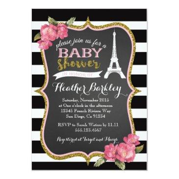 paris french eiffel tower baby shower invitations