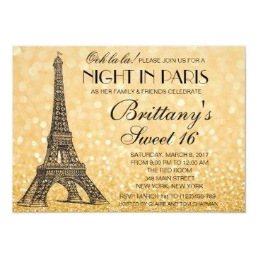 Small Paris Sweet 16 Gold Glitter Lights Invitation Front View