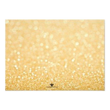 Small Paris Sweet 16 Gold Glitter Lights Invitation Back View