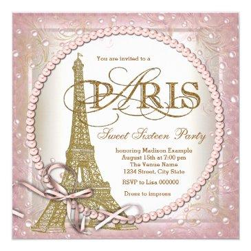 Small Paris Sweet 16 Party Pink And Gold Pearl Invitations Front View