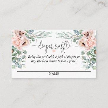 pastel pink floral diaper raffle script text enclosure invitations