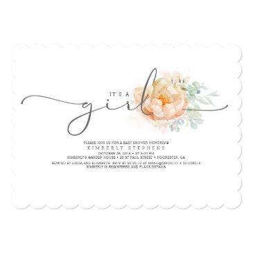 Small Peach And Cream Floral Calligraphy Baby Shower Invitation Front View