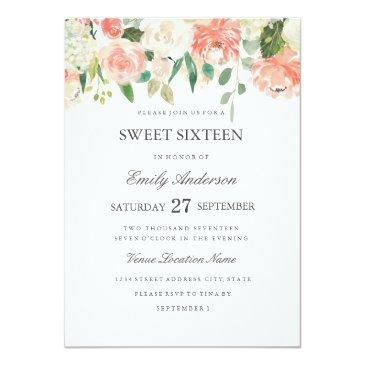 peach floral watercolor sweet sixteen invitations