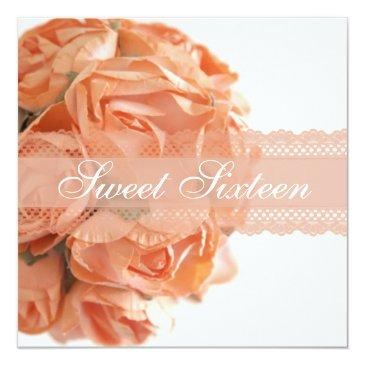 Small Peach Roses And Lace Sweet Sixteen Birthady Party Invitations Front View