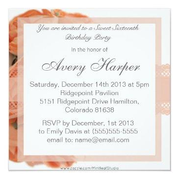 Small Peach Roses And Lace Sweet Sixteen Birthady Party Invitations Back View