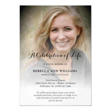 personalized photo celebration of life funeral invitation