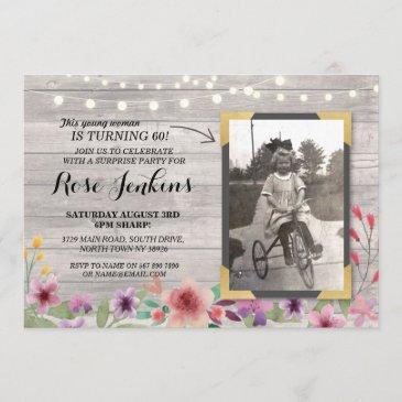 photo pink birthday floral rustic wood invitations