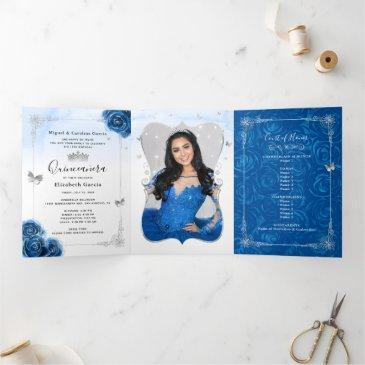 photo spanish silver royal blue quinceanera tri-fold invitation
