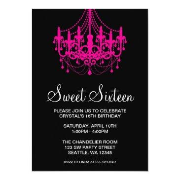 Small Pink And Black Chandelier Sweet Sixteen Birthday Invitations Front View