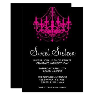 pink and black chandelier sweet sixteen birthday invitation