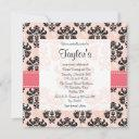 pink and black damask sweet sixteen invitations