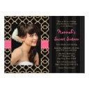 pink and black gold moroccan sweet sixteen photo invitations