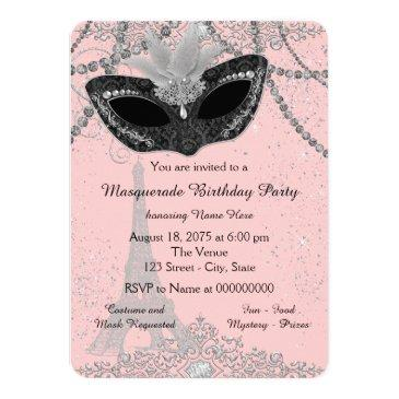Small Pink And Black Paris Masquerade Party Invitations Front View