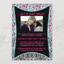 pink and blue animal print sweet 16 invitation