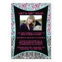 pink and blue animal print sweet 16 invitation