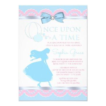 pink and blue cinderella birthday party invitation