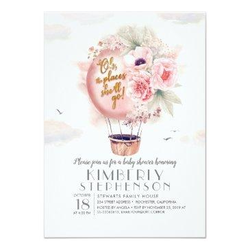 Small Pink And Gold Floral Hot Air Balloon Baby Shower Invitation Front View