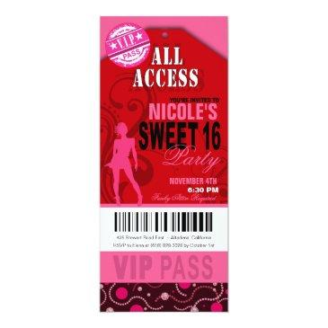 pink and red vip sweet 16 ticket party invitation