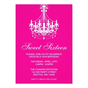 Small Pink And White Chandelier Sweet Sixteen Birthday Invitations Front View