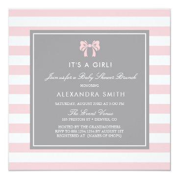 pink and white stripes with bow baby shower brunch