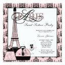 pink black paris chandelier sweet sixteen party invitation