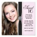 pink black photo sweet 16 birthday party invitation