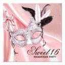 pink black sweet 16 masquerade party invitations