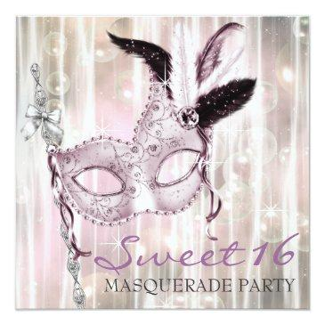 Small Pink Black White Sweet 16 Masquerade Party Invitations Front View