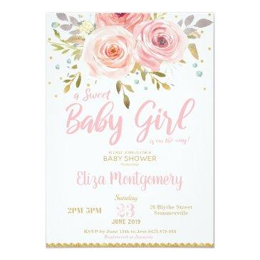 Small Pink Blush Floral Baby Shower Invitation Girl Front View