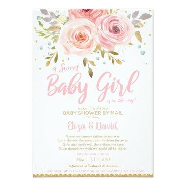 Small Pink Blush Floral Virtual Baby Shower By Mail Girl Invitation Front View