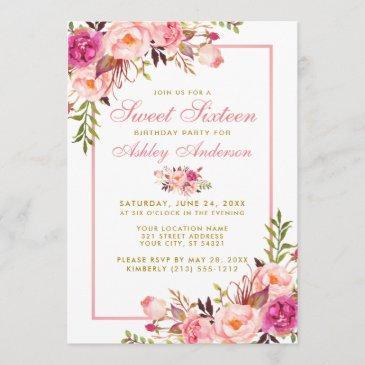 pink blush gold floral sweet 16 birthday invite