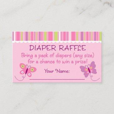 pink butterfly diaper raffle tickets enclosure invitations