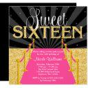 pink carpet gold glam hollywood sweet 16 birthday invitation